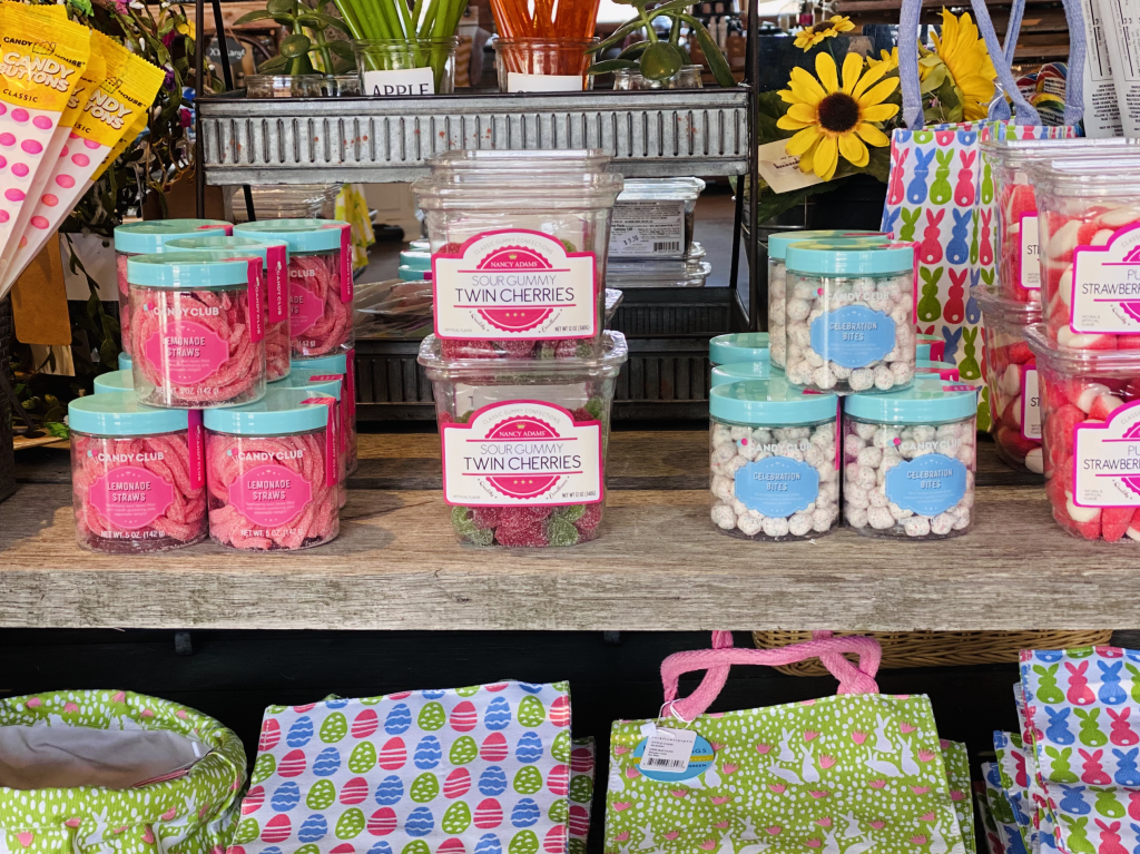 Easter Candy and reusable cotton Easter baskets for sale in the farm store.